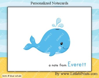 Blue Whale Note Cards Set of 10 personalized flat or folded cards