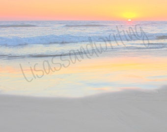 Personalized sand writing photo, name in the sand, beach wall art, new baby gift, beach writing, child loss, sunset, digital photo