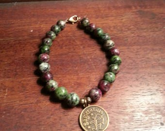 Zodiac Sagittarius symbol gemstone bracelet