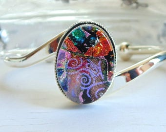 Silver Plated Dichroic Glass Cuff Bracelet, Pink, Red, One of a Kind