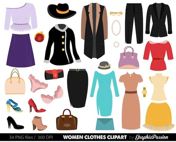 clothes clipart fashion clipart fashion clothes clipart women rh etsy com Toys Clip Art Shirt and Pants Clip Art