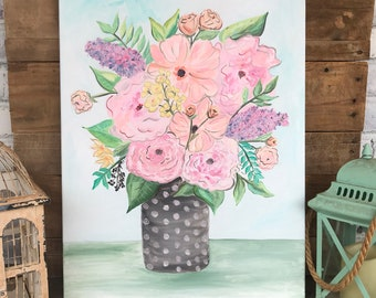 Original Oil Painting, Flower Painting, Floral Painting, Pink, blush, coral, floral painting