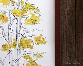 Wedding Guest Book Alternative, Signature Tree, unique guest book, aspen tree, housewarming gift, fingerprint tree, rustic home, gue