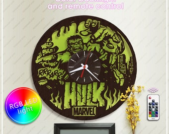 Hulk Clock  Marvel  Clock The Avengers Wooden Clock with Backlight  Wall Clock *w162 Handmade Clock  Marvel Styled Clock  Hulk Gift