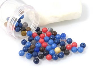 X 60 beads 6mm acrylic, blue