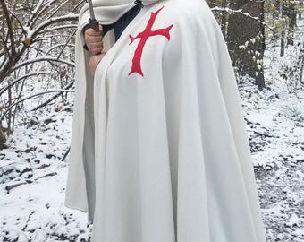READY TO SHIP - Knight Templar Long Cloak - Full Circle White Fleece Medieval Hooded Cloak with Red Cross - Costume Cape with hood
