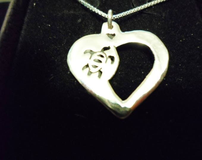 heart sea turtle necklace w/ sterling silver chain quarter size