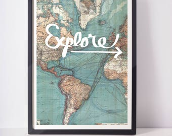Explore - Home Decor - Framed Print - Wall Decor - Gift for Travelers - Map Print - Poster