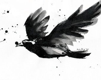Crow painting -  8x12in canvas, A4, 21x30cm - abstract flying crow