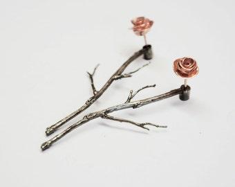 silver earjackets, rose gold ear jacket, branches earrings, earring jackets, front back earrings, rose studs, silver earjacket, gift for her