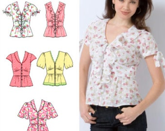 BLOUSE TOP Sewing Pattern ~ Misses Blouses Ruffle Tops 5 Sizes 2601