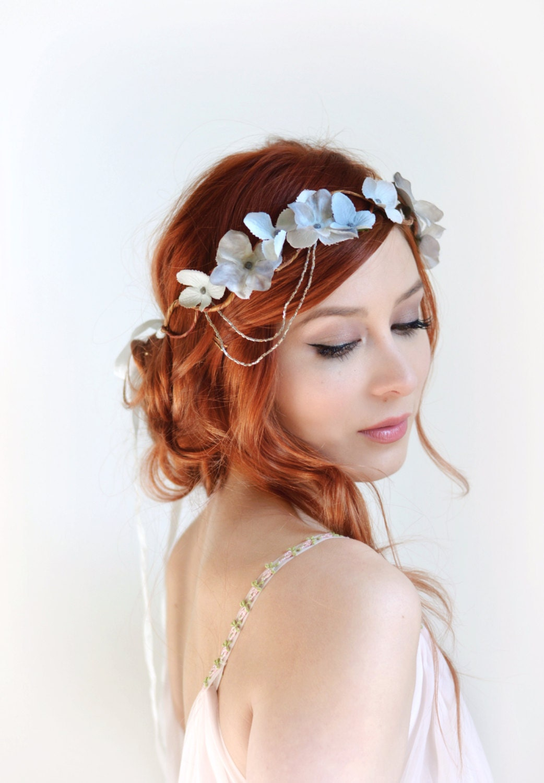 Silver crown wedding headpiece grey floral crown hair zoom izmirmasajfo