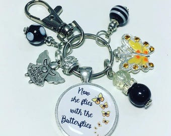 She flies with the butterflies keyring, butterfly keyring, butterfly keychain, memorial keyring