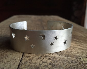Handcut Sterling Silver Stars and Moon Cuff Bracelet