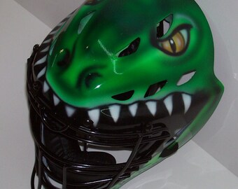 Airbrush Mean Gator Head Baseball Softball Catchers Helmet Rawlings YOUTH or ADULT catchers mask new