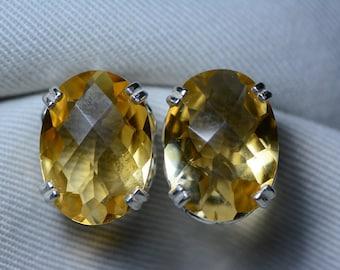 Citrine Earrings, Certified 17.88 Carat Citrine Stud Earrings Appraised 900.00 Sterling Silver, Real Natural Genuine November Birthstone