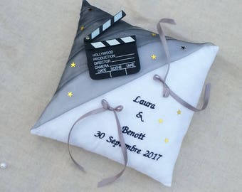 Movie theme wedding ring bearer pillow, wedding decor cinema wedding ring cushion cut ring gold stars and grey Whoopsidaisies Creations