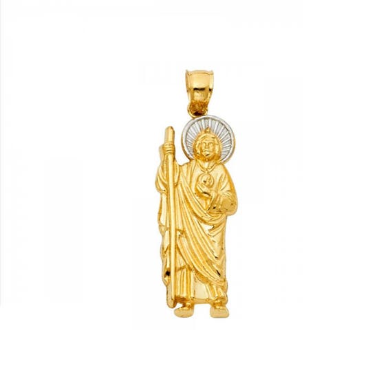 14k solid yellow white gold saint jude pendant san judas mozeypictures Gallery