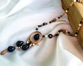 Statement Necklace, Wood Bead Necklace, Long Wood Necklace, Anniversary Gift Ideas