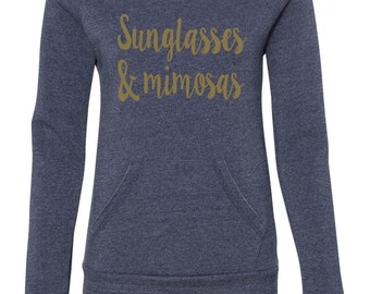Sunglasses And Mimosas Brunch Sweatshirt Off The Shoulder Sweatshirt Brunch Tops