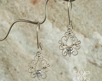 Sterling Silver Filigree CZ  Earrings, Silver Filigree Earring, White Pear CZ, Filigree Bridal Earrings, Floral Dangle Earrings, Art Nouveau