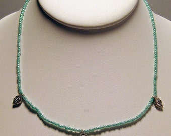 Teal 14 Inch Necklace with 3 Leaf Charms