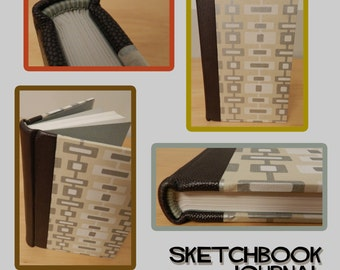 Leather Journal/Sketchbook with Retro Print
