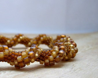 Bead Crochet Bangle Bracelet,  Bronze and Amber Colored Beadwork Bracelet,  Beaded Crochet, Crocheted Jewelry