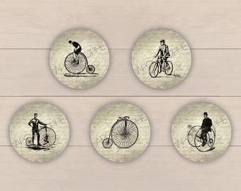60 digital images for cabochon jewelry - Vintage - Bicycle N1