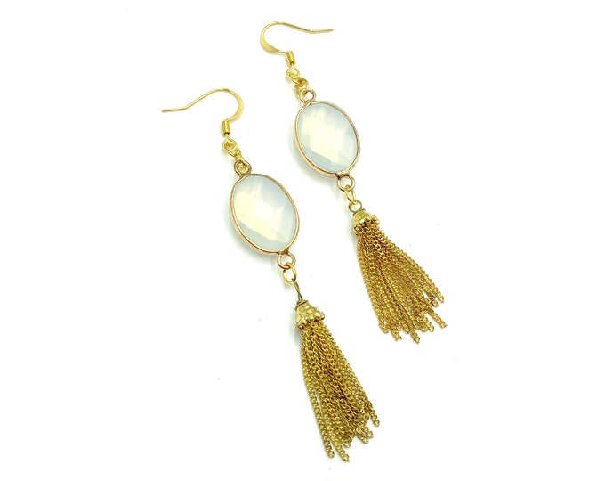 FELICIA: gold opalite tassel earrings