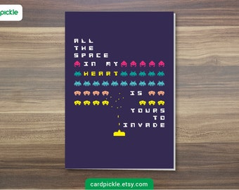 DOWNLOAD Printable Card - I Love You Card - Space Invaders Card - Video Game - Happy Birthday - Happy Anniversay - Valentines Card