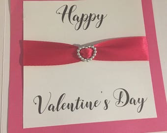 Valentine's Day cards, greetings cards, love hearts, ribbon, pink, red, Valentine's Day, cards for him, cards for her