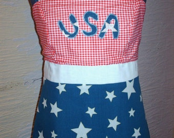 Fourth of July Dress, Handmade Dress, Patriotic Dress, Red White Blue, Stars, USA Dress, Hippie Boho, Unique Clothing, Celebration Dress