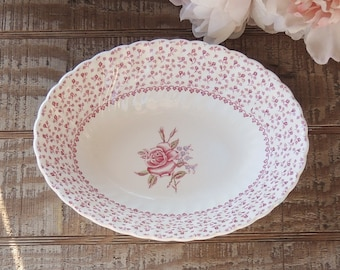 """Johnson Brothers Rose Bouquet Pink 9"""" Oval Serving Bowl English Ironstone China, Bridesmaid Luncheon, Tea Parties Ca 1970s"""