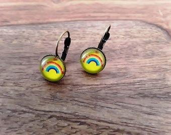 Stud Earrings, yellow and Rainbow
