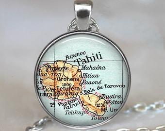 Tahiti map pendant, Tahiti map necklace, Tahiti necklace Tahiti pendant travel jewelry map jewelry key chain keychain key ring key fob
