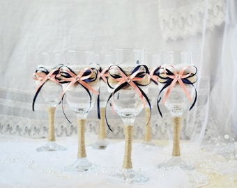 Wedding Toasting Glasses, Navy Blue and Coral Red Wedding Theme, Toasting Flutes, Champagne Glasses set of 6, Wedding Glassware
