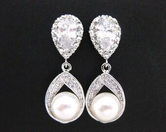 Bridal Pearl Earrings Wedding Jewelry Swarovski Round 8mm Pearl Teardrop Dangle Earrings Bridesmaid Gift Cubic Zirconia Earrings (E016)