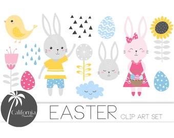 50% OFF Scandinavian Easter Clip Art Set - Set of 18 - Easter Clip Art - Spring - Cute Bunny - Easter Egg -Scrapbooking