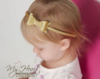 Gold Hard Headband, Gold Headband, Gold Glitter Bow Headband, Plastic Headband, Gold Bow, Girl Headband, Toddler Headband, Big Girl Headband
