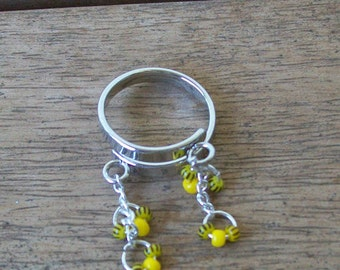 SALE!  15% off!  Adjustable Ring with Bright Yellow Seed Bead Dangles