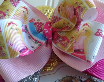 Barbie hair bow . Pink Barbie girl baby hair clip . Pinks and silver Barbie Birthday bow 5 inch