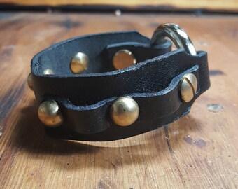 Black leather amo cuff bracelet