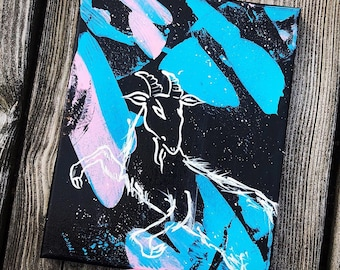 """Original Painting - Not So Black Phillip - 8""""x10"""" - Ready To Hang/Gallery Wrapped Canvas"""