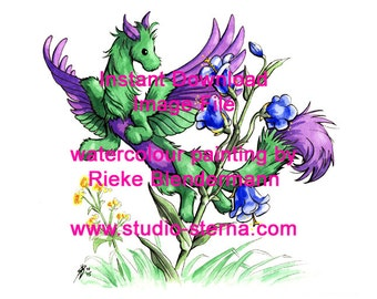 dragon green purple beauty drawing watercolour painting digital image printable instant download card decorative fantasy flower wings