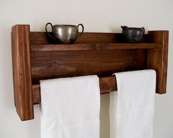 Bathroom Shelves Towel Rack Towel Bar  Bathroom Shelf Wood Shelf