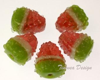 Handmade Lampwork Glass Beads -- Sweet Watermelon