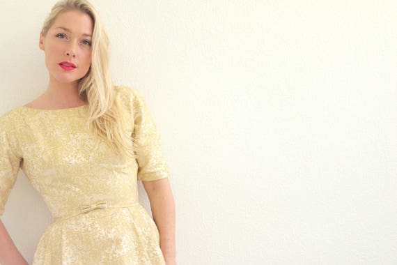 Dress Deb Extra to Extra Small Size Lorrie Small Brocade Double 1960s q54atTzn