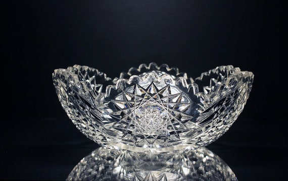 Antique American Brilliant Bowl, T. B. Clark & Company, Leaded Crystal, Cut Glass, Hobstar, Diamond, Sawtooth Edge, Centerpiece, Clear Glass