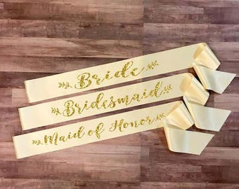 BRIDE SASH Ivory Leaves